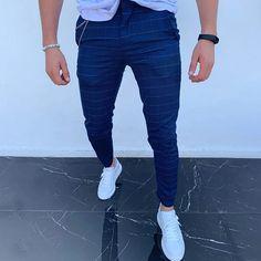 Casual High Waist Blue Plaid Slant Pocket Straight Leg Pants – maxgonia Men's Wardrobe, Plaid Jacket, T Shirt And Jeans, Straight Leg Pants, Fashion Pants, Style Fashion, Blue Plaid, Shirt Style, Pants Style