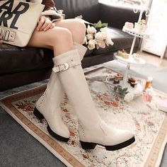 Womens-Ladies-Riding-Knee-High-Boots-Buckle-Warm-Platform-Rivet-Round-Toe-Shoes