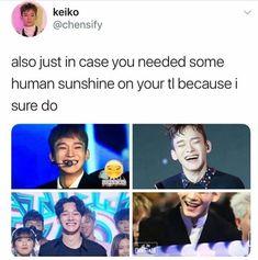Chen's smile is definitely one of my favorite things about him.Look how cute he Chen's smile is definitely one of my favorite things about him. Exo Chen, Kpop Exo, Exo K, K Pop, Baekhyun, Kim Jongdae, Exo Ot12, Exo Memes, Kpop Groups