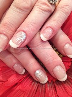 White acrylic tips with flick nail art. Next time I get a fill this is what I want!