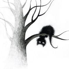 cats on trees by Elena Lishanskaya [black cat art. Crazy Cat Lady, Crazy Cats, Black Cat Art, Black Cats, Black Cat Drawing, Black Kitty, Black Cat Painting, I Love Cats, Cute Cats