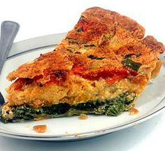 Layered Cheese, Egg and Vegetable Pie.  Pour the custard over the cheese and vegetables and it magically separates into three layers while baking.