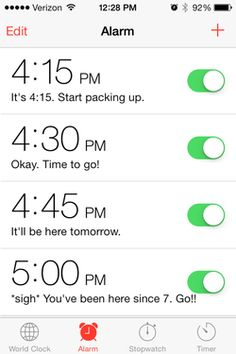 Funny alarm teacher made for herself to leave school at the end of the day!