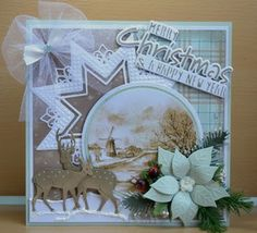Card by DT member Astrid with Craftables Merry Christmas (CR1327), Tiny's Deer (CR1289) and Creatables Star XL (LR0369) by Marianne Design