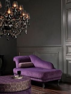 Feminine interior design decor: purple and gray (charcoal)