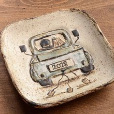 Etta B Pottery Just Hitched Wedding Truck Plate