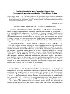 I'm reading Application of the Anti-Nepotism Statute to a Presidential Appointment in the White House Office on Scribd