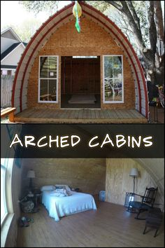 Prefabricated arched cabins can provide a warm home for for Arched cabin floor plans