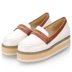 Retro Color Block Design White PU Quilted Platform Shoes | Sprence