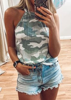 Our CLAIRE HALTER NECK TOP CAMO features a halter neck sleeveless vest that will be loved by all modern ladies. The camo print is classic and will never be out of fashion. It looks great with high waist jeans, skinny jeans and casual shorts Camo Tank Tops, Halter Neck, Camo Print, High Waist Jeans, Chic Outfits, Looks Great, Casual Shorts, Skinny Jeans, Lady