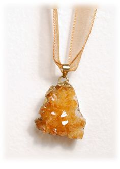 EARTH AMULET necklace: Natural Citrine Amulet on matching ribbon adjustable