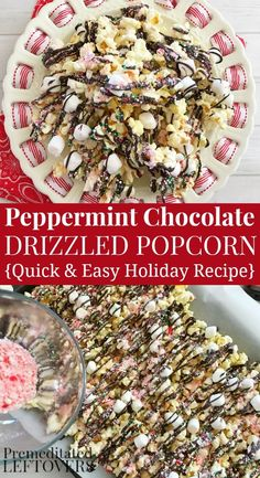 This Peppermint Chocolate Drizzled Popcorn recipe is a delicious holiday treat. It is a quick and easy holiday snack recipe and a lovely food gift for friends