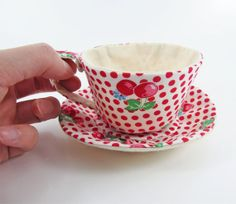 Textile Teacup Tidy- Strawberries and Cherries on Red Spots