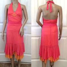 Sexy Ruched Cocktail Party Dress Halter Top Beads Ruffle Hem Pink Orange Size M #MyMichelle #Sexy #Cocktail