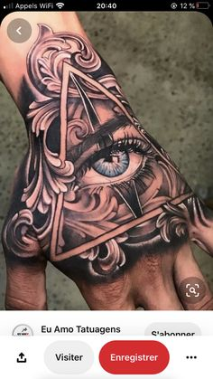 Tattoos Eye In Hand — Hand Tattoos Design Unique Hand Tattoos, Mandala Hand Tattoos, Butterfly Hand Tattoo, Skull Hand Tattoo, Rose Hand Tattoo, Hand Tats, Hand Tattoos For Women, Triangle Tattoos, Best Sleeve Tattoos