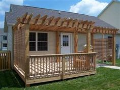 Thinking of doing something similar to this for my back porch since it needs to be replaced before winter. Pergula Deck, Deck With Pergola, Pergola Patio, Backyard Patio, Attached Pergola, Backyard Landscaping, Back Porches, Decks And Porches, Small Backyard Decks