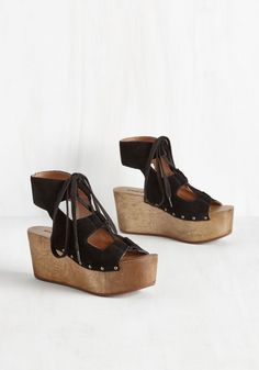 Shade Tree Daiquiris Heel by Kelsi Dagger Brooklyn - Black, Solid, Cutout, Girls Night Out, Boho, Vintage Inspired, 70s, Statement, Best, Platform, Lace Up, Chunky heel, Mid, Leather, Suede, Beach/Resort