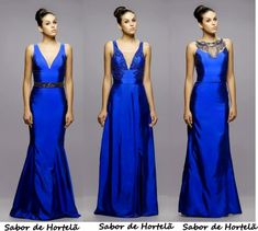 vestido de festa azul longo