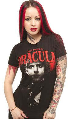 "DRACULA HEAD GIRLY TEE    It will be love at first bite when you see the Universal Dracula tee from Rock Rebel! This girly fit tee features Dracula in the center with ""Bela Lugosi is Dracula"" printed above him in red. 100% Cotton.  Rock Rebel    #monsters #horror #dracula #bellalugosi #hollywood #sourpussclothing #pinup  #dolledup #pindress #bows #red #shoes #tattooedgirls"