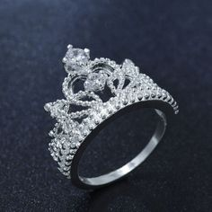 European Silver Plated Romantic Princess Crown Ring Design For Women Wedding Party Rings Jewelry