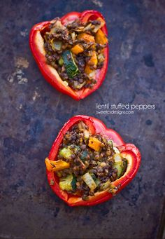 These delicious, fiber-packed, vegetable filled lentil stuffed peppers will keep you full on meatless mondays, during Lent, or while on a Vegan diet.