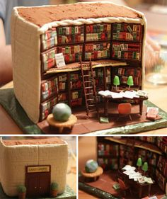 Funny pictures about Amazing Library Cake. Oh, and cool pics about Amazing Library Cake. Also, Amazing Library Cake photos. Pretty Cakes, Cute Cakes, Beautiful Cakes, Amazing Cakes, Crazy Cakes, Fancy Cakes, Library Cake, Mini Library, Library Books