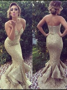Modern & Sexy Sweetheart Gold Sequin Mermaid Prom Dresses, Evening Gowns…
