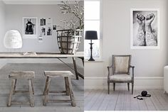 white walls and muted tone woods and textures...all so monochromatic with graphic prints and art on walls.