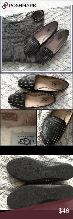 UGG flats ➖SIZE 6 black flats with silver beads all over it. Perfect for a casual or formal event. These have only been worn a few times as you can tell by the sole. The inside looks a bit more work but that's because it's the sheepskin soft material. It's still super soft and comfortable UGG Shoes Flats & Loafers