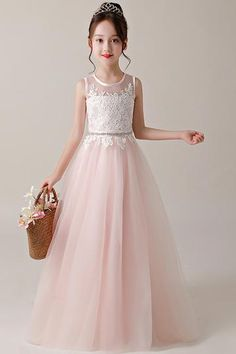3cdbe8eb1d5b A-line Princess Jewel Neckline Flower Girl Dresses with Lace Appliques.  Damigelle D onore JuniorAbiti Da ...