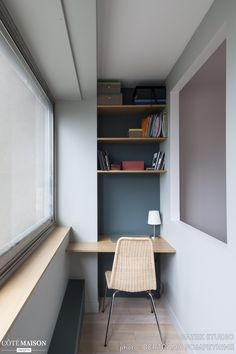 Home office - blue - colour - books - nook