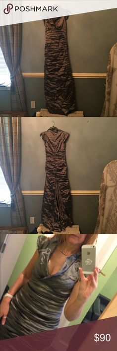 Nicole Miller Gown Red carpet, elegant dark silver evening gown, flattering many body types. (Materials: 52% polyester, 27% metal, 14% nylon, 7% elastane, hand wash cold. Lined.) Worn only once at a Ball in Cannes France. Nicole Miller Dresses Wedding
