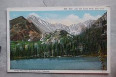 Vintage c. 1933 Linen Postcard b: Bear Lake & Longs Peak Estes Park Colorado CO