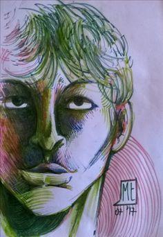 Senza titolo, pennarello su carta, di Matteo Tirimagni.