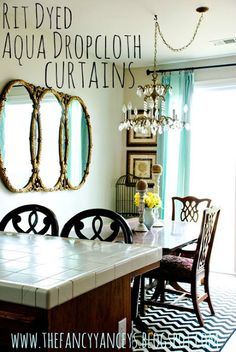 DIY Rit Dyed Aqua Dropcloth curtains...what not to do when dying dropcloth. Vintage Romance
