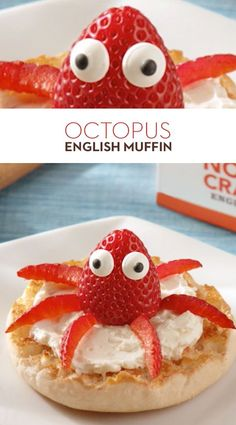 Octopus English Muffin: Turn your breakfast into a cute critter! Start with a toasted Thomas' Original English Muffin, spread on cream cheese and top it with a strawberry octopus! # Food and Drink activities for preschool Food Art For Kids, Fun Snacks For Kids, Cooking With Kids, Cute Snacks, Fun Food For Kids, Cute Food Art, Kids Food Crafts, Kid Snacks, Toddler Meals