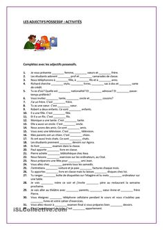 One-click print document French Flashcards, French Worksheets, English Grammar Worksheets, French Teaching Resources, Teaching French, Les Adjectifs Possessifs, Free French Lessons, French Adjectives, French Course
