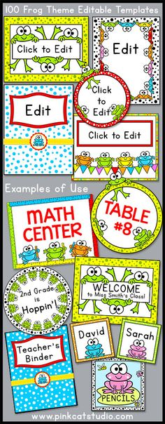These fun frogs will look fantastic in your classroom! This value packed set of full color templates includes 100 editable template designs that can be used for posters, signs, labels, binder covers, newsletters, certificates and anything else you can think of for your classroom! By Pink Cat Studio