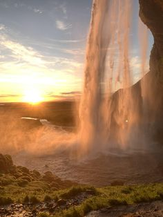 Watching the sunset from behind a waterfall in Iceland. Nature Aesthetic, Travel Aesthetic, Beautiful World, Beautiful Places, Peaceful Places, You're Beautiful, Beautiful Scenery, Iceland Waterfalls, Pretty Pictures