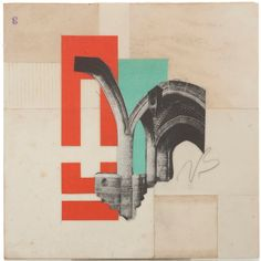 KNP009, Limited Edition, Collage Print,  Architecture, Handmade from  Ephemera, Mixed Media, Vintage Papers, Signed and Numbered by Artist on Etsy, $40.00