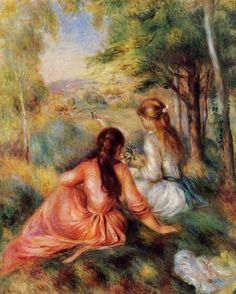 Picking Flowers (also known as In the Field)  - Pierre Auguste Renoir - circa 1890