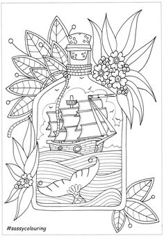 épinglé par ❃❀CM❁✿⊱This was a free page offered by Sassy Colouring - it is called 'Ship in a Bottle' check the Sassy website and face book to see more free pages Doodle Coloring, Mandala Coloring, Free Coloring, Coloring Book Pages, Printable Coloring Pages, Coloring Sheets, Pirate Coloring Pages, Face Doodles, Digital Stamps