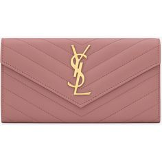 Large Monogram Saint Laurent Flap Wallet In Old Rose Grain De Poudre... ($750) ❤ liked on Polyvore