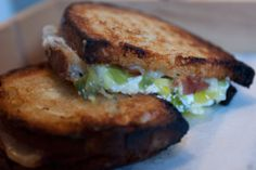 The Grilled Cheese For Pasta Fanatics Adam Schneider based the signature dish at his New York grilled cheese restaurant Little Muenster on one of his favorite pastas. It's the sandwich equivalent of spaghetti carbonara. National Grilled Cheese Day, Best Grilled Cheese, Grilled Cheese Recipes, Grilled Cheeses, Grilled Cheese Restaurant, Great Recipes, Favorite Recipes, Delicious Recipes, Crispy Fried Chicken