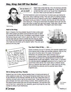 """This lesson, """"Hey King: Get Off Our Backs!,"""" is designed to help students understand how English policies and responses to colonial concerns led to the writing of the Declaration of Independence."""