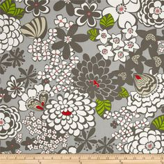 Stachi Floral Grey from @fabricdotcom  Designed by the DeLeon Group for Alexander Henry, this cotton print fabric is perfect for quilting, apparel, crafts, and home decor items. Colors include shades of grey, red, white, cream, and green.