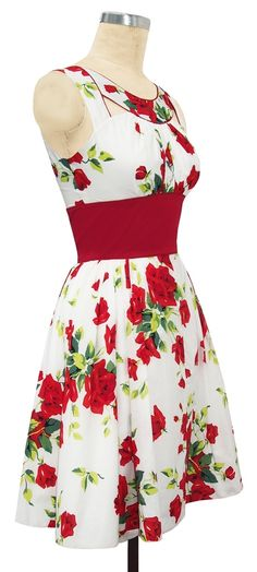 dress red roses adorable vintage red and white dress