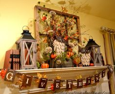 Kristen's Creations: Fall Mantel with Wooden Owls