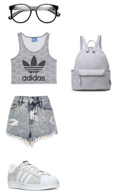 """Grey Day"" by ashyrosepetal ❤ liked on Polyvore featuring River Island, adidas and adidas Originals"