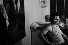 Ramin Karimloo in make-up for the Phantom